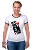 """Футболка """"Рингер"""" (Женская) """"Be my Valentine                   """" - любовь, арт, сердца, день святого валентина, 14 февраля, рисунок, valentine's day"""