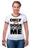 "Футболка ""Рингер"" (Женская) ""Only Doge Can Judge Me"" - мем, wow, doge, собакен, песе"