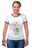 """Футболка """"Рингер"""" (Женская) """"Цветы душистый горошек"""" - арт, цветы, весна, акварель, spring, горошек"""