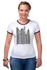 "Футболка ""Рингер"" (Женская) ""Сити-код"" - арт, город, дизайн, city, код, barcode, урбанизм"