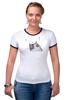 "Футболка ""Рингер"" (Женская) ""Music Cat"" - музыка, кот, ноты, добро, кошаса"
