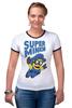 "Футболка ""Рингер"" (Женская) ""Super Minion"" - миньон, minion"