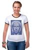 """Футболка """"Рингер"""" (Женская) """"The Icon"""" - арт, портрет, russia, мозаика, путин, президент, putin, president, икона, the icon"""