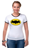 """Футболка """"Рингер"""" (Женская) """"бэтмен"""" - batman, бэтмен, dc, dc комиксы"""