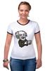 "Футболка ""Рингер"" (Женская) ""Эйнштейн"" - арт, albert einstein, физика, эйнштейн, scientist"
