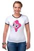 "Футболка ""Рингер"" (Женская) ""My Little Pony - Пинки Пай (Pinkie Pie)"" - pony, mlp, my little pony, пони, pinkie pie, пинки пай"