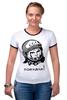 """Футболка """"Рингер"""" (Женская) """"Гагарин: поехали """" - space, ссср, космос, ussr, герой, astronaut, космонавт"""