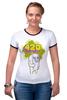 """Футболка """"Рингер"""" (Женская) """"420"""" - авторские майки"""