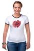 """Футболка """"Рингер"""" (Женская) """"Стилизованный  винтажный арт-цветок"""" - арт, авторские майки, цветы, узор, стиль, flower, рисунок, винтаж, мак, poppy"""