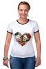 """Футболка """"Рингер"""" (Женская) """"Любить друг друга вечно"""" - сердце, цветы, черепа, акварель"""