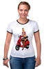 """Футболка """"Рингер"""" (Женская) """"Девушка на мотоцикле"""" - девушка, эротика, блондинка, мотоцикл"""