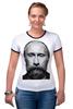 """Футболка """"Рингер"""" (Женская) """"ВВП с бородой"""" - путин, борода, putin, beard"""