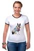 """Футболка Рингер """"Собака, на пляже отдыхака"""" - отдых, собака, пляж, beach, гавайская рубашка, french bulldog, французский бульдог"""