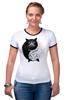 """Футболка Рингер """"Угрюмый Кот Инь-Янь"""" - cat, инь и ян, grumpy cat, угрюмый кот"""