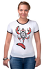"Футболка Рингер ""Totem cancer"" - шаман, рак, индейцы, cancer, haida, shaman"
