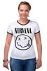 """Футболка """"Рингер"""" (Женская) """"Nirvana (Нирвана)"""" - nirvana, нирвана"""
