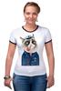 "Футболка ""Рингер"" (Женская) ""kitty"" - cat, котэ, трубка, hipster, sailor, моряк"