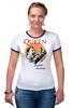 "Футболка ""Рингер"" (Женская) ""Freddie Mercury - Queen"" - queen, фредди меркьюри, freddie mercury, куин, rock music"