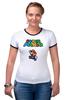 "Футболка ""Рингер"" (Женская) ""Super Mario"" - mario, dendy, марио, mario bros, 8bit"