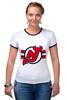 """Футболка """"Рингер"""" (Женская) """"Нью-Джерси Девилс"""" - хоккей, nhl, нхл, нью-джерси девилс, new jersey devils"""