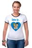 "Футболка ""Рингер"" (Женская) ""love is..."" - heart, love is"