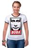"""Футболка """"Рингер"""" (Женская) """"Вова Путин """" - россия, путин, президент, obey, putin, владимир путин, все путем, нас не догонят"""