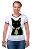 """Футболка """"Рингер"""" (Женская) """"Деловой кот"""" - кот, мем, cat, mem, black cat, деловой кот, business cat, suit n tie"""