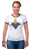 "Футболка ""Рингер"" (Женская) ""Гомер Супермен"" - superman, симпсоны, the simpsons, gomer simpson, гомер супермен"