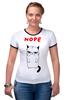 """Футболка Рингер """"Угрюмый Кот"""" - мем, коты, grumpy cat, nope, угрюмый кот"""