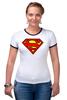 """Футболка """"Рингер"""" (Женская) """"superman"""" - супермен, superman, dc"""