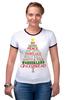 "Футболка ""Рингер"" (Женская) ""Christmas Tree"" - новый год, звезда, рождество, new year, christmas, christmas tree, 2015"