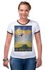 """Футболка Рингер """"Космический туризм"""" - планета, космос, звёзды, научная фантастика, постер"""