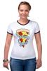 "Футболка ""Рингер"" (Женская) ""Пицца Навсегда"" - пицца, pizza, pizza forever"