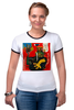 """Футболка """"Рингер"""" (Женская) """"Basquiat"""" - граффити, робот, basquiat, баския, жан-мишель баския"""