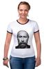 """Футболка """"Рингер"""" (Женская) """"Путин с бородой"""" - путин, борода, putin"""