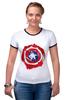 """Футболка """"Рингер"""" (Женская) """"Captain America """" - капитан америка, captain america"""