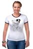 """Футболка """"Рингер"""" (Женская) """"Белый Медведь"""" - bear, медведь, белый медведь"""