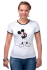 "Футболка Рингер ""Mickey Mouse Bloody Eyes On White"" - боль, смех, юмор, приколы, глаз, мультики, глаза, mouse, микки, анимация"