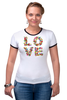 "Футболка ""Рингер"" (Женская) ""LOVE "" - любовь, 14 февраля, valentine's day"