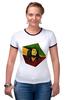 """Футболка """"Рингер"""" (Женская) """"Bob Marley"""" - регги, ямайка, боб марли, bob marley, reggae, боб, ска, марли"""