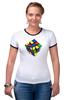 """Футболка """"Рингер"""" (Женская) """"Кубик рубика """" - арт, игра, ретро, rubik's cube"""