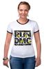 """Футболка """"Рингер"""" (Женская) """"RUN DMC"""" - rap, цветы, нью-йорк, хип-хоп, run, dmc, nyc, run dmc, ран ди-эм-си"""