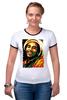 """Футболка """"Рингер"""" (Женская) """"Боб Марлей (Bob Marley)"""" - регги, боб марли, bob marley, reggae, ska, jamaica"""