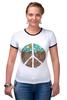 "Футболка ""Рингер"" (Женская) ""Pacific"" - арт, peace, пацифизм"