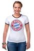 """Футболка """"Рингер"""" (Женская) """"Бавария Мюнхен"""" - футбол, football, футбольный клуб, бавария мюнхен, bayern munich"""