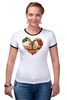 "Футболка ""Рингер"" (Женская) ""Skull Art"" - skull, череп, сердце, heart, цветы"