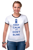 "Футболка Рингер ""Keep Calm and Don't Blink (Tardis)"" - сериал, doctor who, tardis, доктор кто, машина времени"