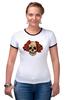 """Футболка """"Рингер"""" (Женская) """"Mrs. Skull"""" - череп, цветы, рисунок"""