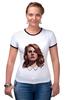 """Футболка """"Рингер"""" (Женская) """"Lana del Rey"""" - стиль, рисунок, портрет, lana, лана дель рей"""