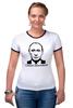 """Футболка """"Рингер"""" (Женская) """"Самая вежливая футболка"""" - путин, putin, крым, вежливые люди, вежливый"""